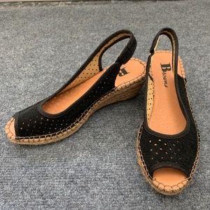 Suede Slingback Peep-Toe Wedge Sandals - 37
